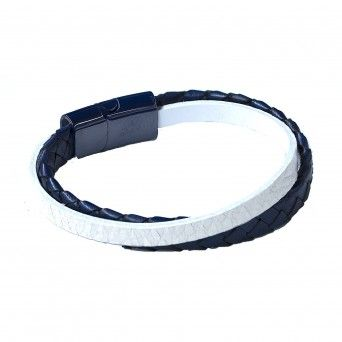 Pulseira Blue & White Leather