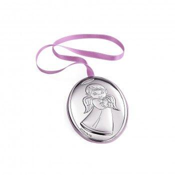 Medalha de Berço -  Anjo na Frente Rosa