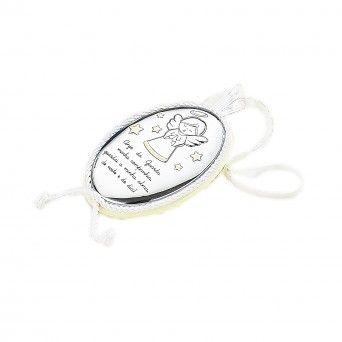 Medalha de Berço Oval Musical Neutra