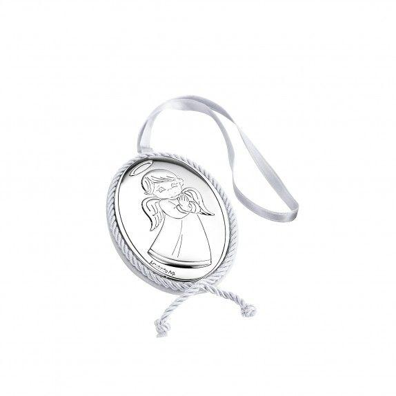 Medalha de Berço Musical -  Anjo de Frente Branco