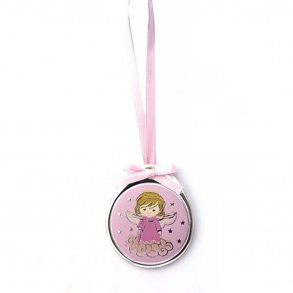 Medalha de Berço Oval Rosa