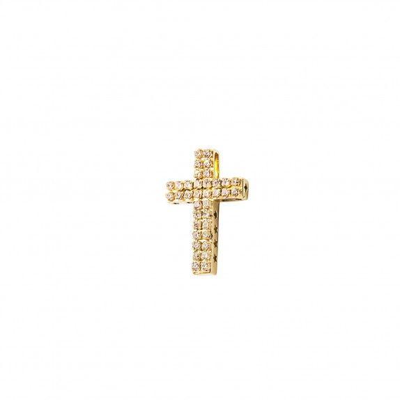 Medalha - Cruz Dourada c/Zircónias&Estrelas