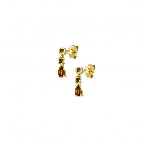 Brincos Dourados - Brown Drops