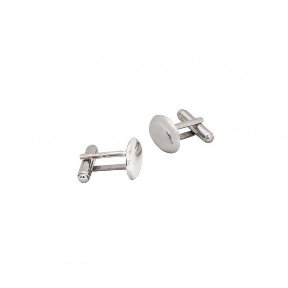 Botões de Punho Ovais - Polished Silver