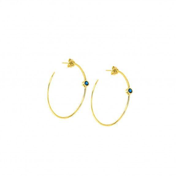 Argolas Douradas - Zircónia Azul