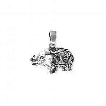 Medalha Elefante Com Flor