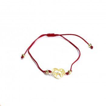 Pulseira Fio Vermelho - Coração Dourado