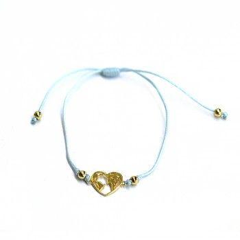 Pulseira Fio Azul - Coração Dourado