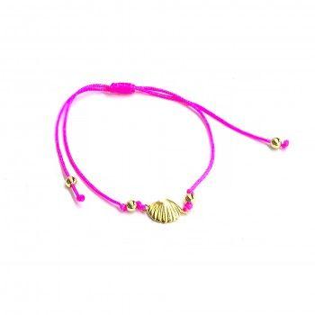 Pulseira Fio Rosa - Concha Dourada