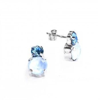 Brincos - Double Blue Zircon