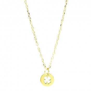 Colar Dourado - Medalha Trevo