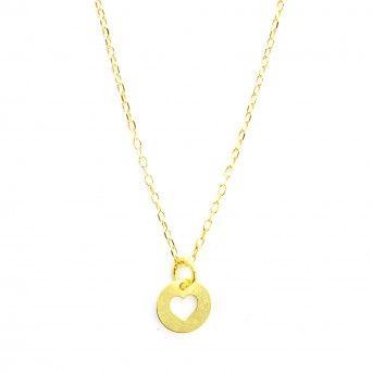 Colar Dourado - Medalha Coração