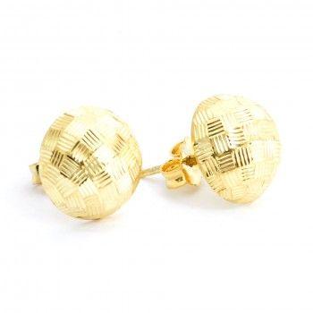Brincos Dourados - Botão Espelhado