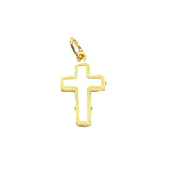 Medalha Ouro 9kts - Cruz C/Madrepérola