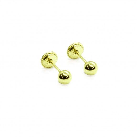 Brincos Ouro Amarelo - Bola