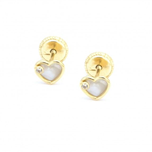 Brincos Ouro 9kts - Coração Madrepérola&Zircon