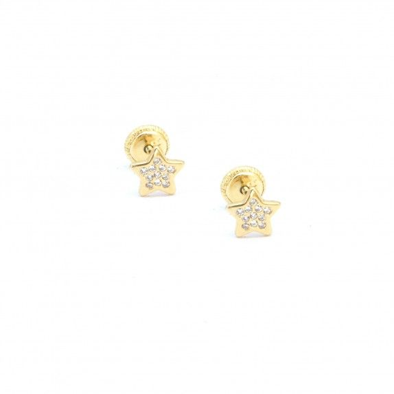 Brincos Ouro 9kts - Estrela C/Zircónia