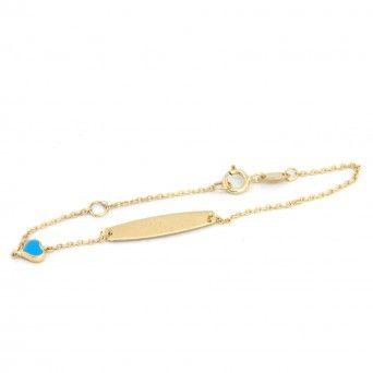 Pulseira Ouro 9kts - Chapinha C/Coração Azul
