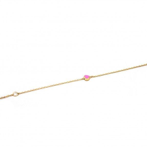 Pulseira Ouro 9kts - Coração Esmalte Rosa