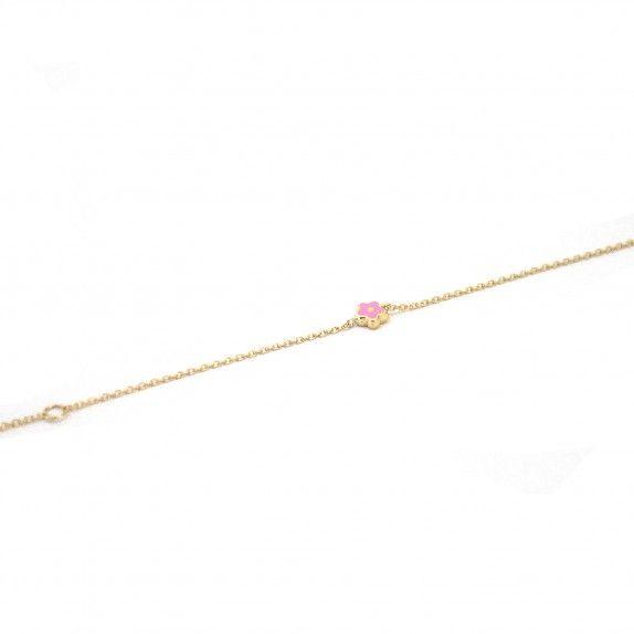 Pulseira Ouro 9kts - Flor Rosa