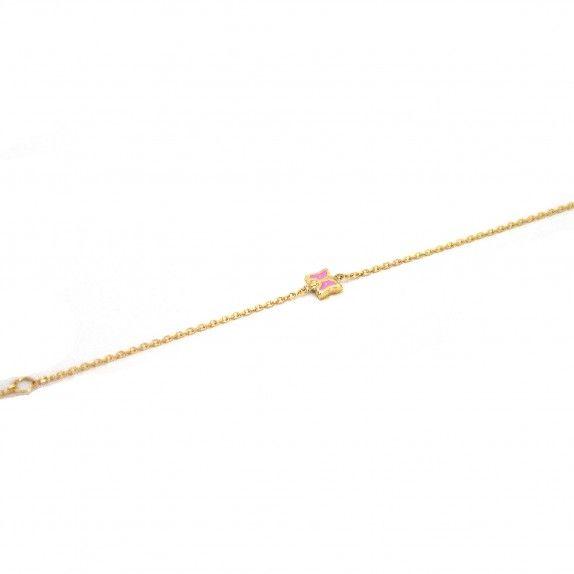 Pulseira Ouro 9kts - Borboleta Rosa