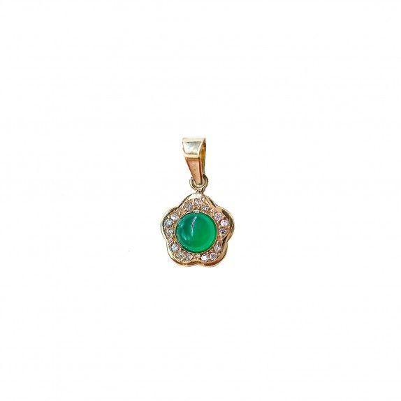 Medalha Ouro 9kts - Green Flower