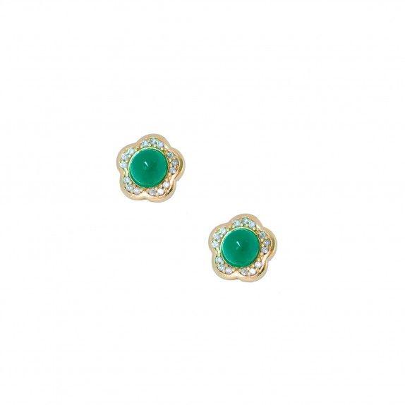 Brincos Ouro 9kts - Green Flower