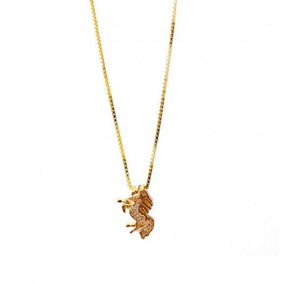 Colar Dourado - Unicórnio C/Zircónias