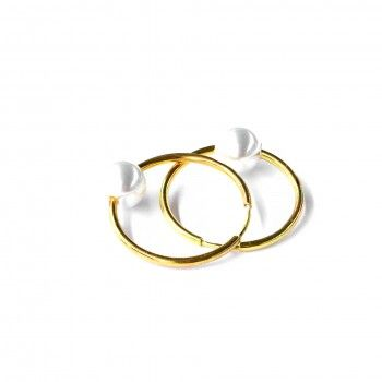 Argolas Douradas Polidas C/Pérola II