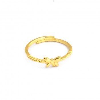 Anel Dourado Simples Borboleta