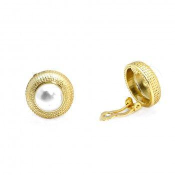 Brincos Dourados Pearl (S/Espeque)