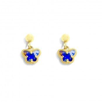 Brincos Dourados Borboleta Azul