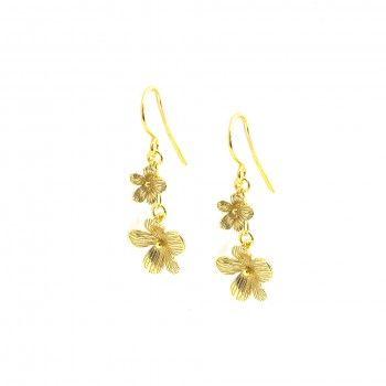 Brincos Dourados Flores Entre Linhas