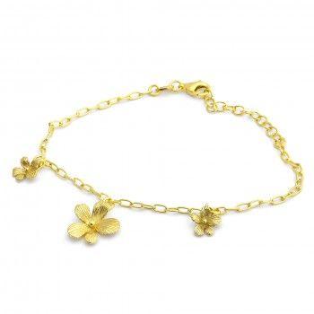Pulseira Dourada Três Flores
