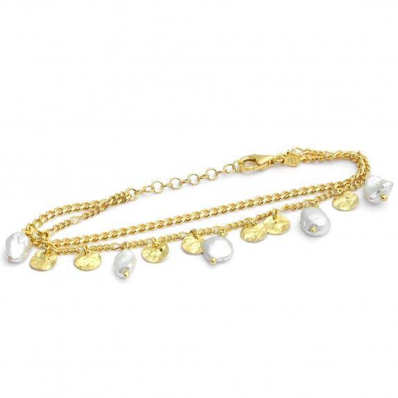 Pulseira Dupla Dourada - Pearls