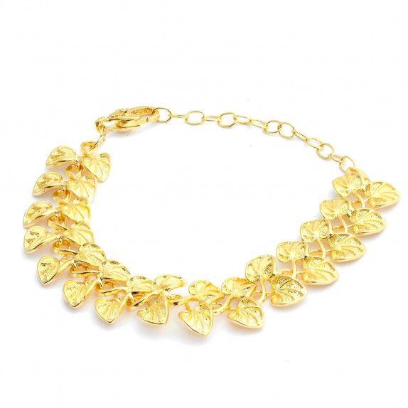 Pulseira Dourada Trabalhado Floral