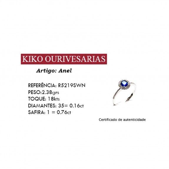 18kts Ring w / Diamonds & Sapphire