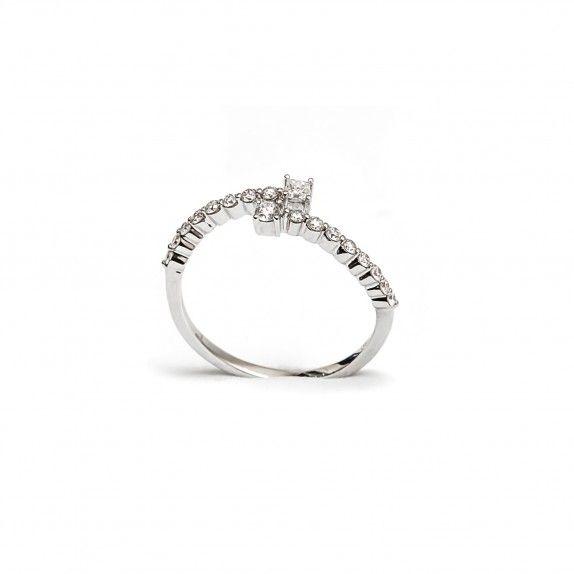 Anel Ouro 18kts C/Diamantes - Cruzado