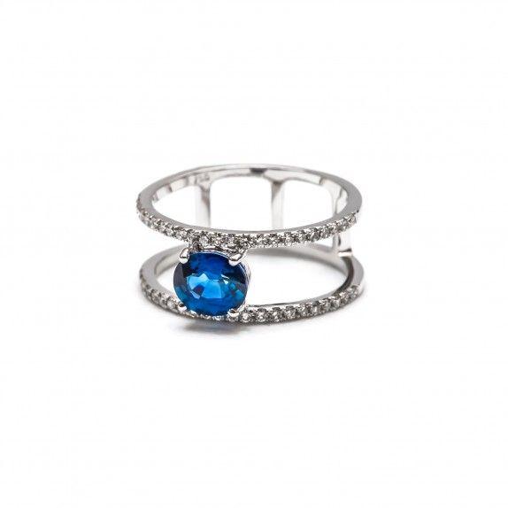 Anel Ouro 18kts C/Diamantes&Safira - Dois aros