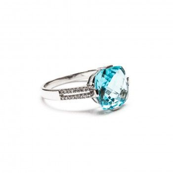 Anel Ouro 18kts C/Diamantes - Safira