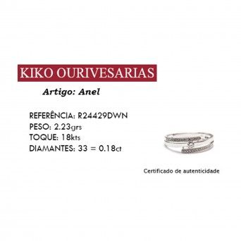 Anel Ouro 18kts C/Diamantes - Entrelaçado