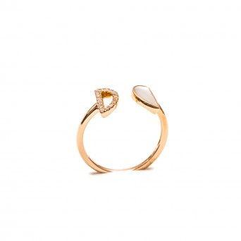 Anel Ouro 18kts C/Diamantes&Madrepérola