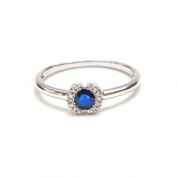 Anel Ouro 18kts C/Diamantes&Safira - Confia