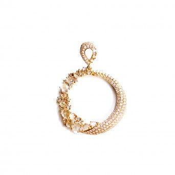 Medalha Ouro 18k C/Diamantes - Rose