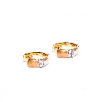 Argolas Ouro 18kts C/Diamantes - Acobreadas