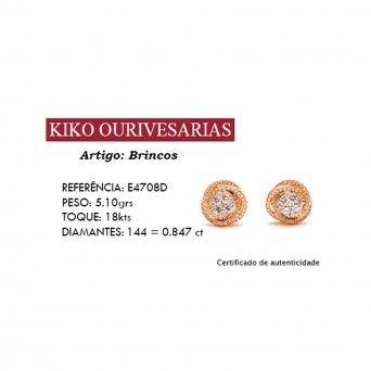 Brincos Ouro 18kts C/Diamantes - Circulo Entrelaçado