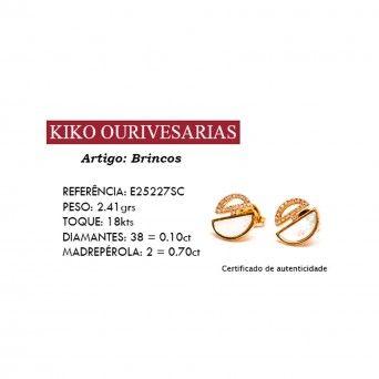 Brincos Ouro 18kts C/Diamantes&Madrepérola