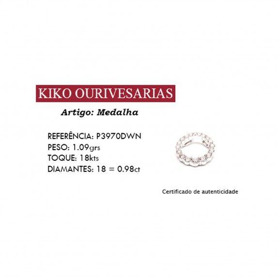 Medalha Ouro 18kts C/Diamantes - Jardim