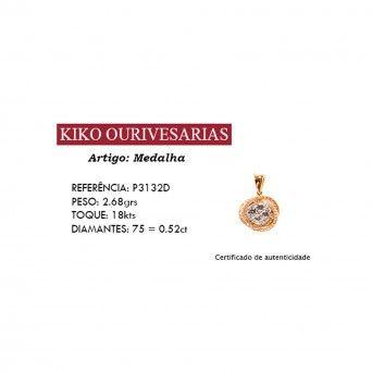 Medalha Ouro 18kts C/Diamantes - Circulo Entrelaçado
