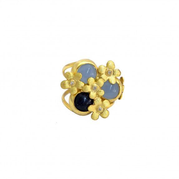 Anel Dourado Flores&Pedras Hidrotermais